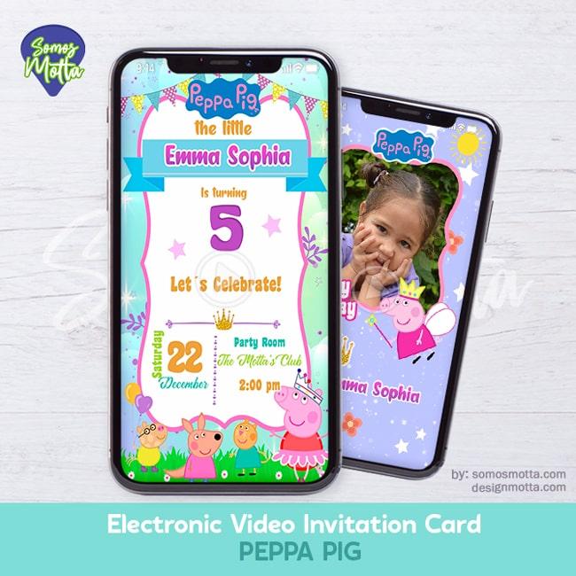 Electronic Video Card Invitation Peppa Pig