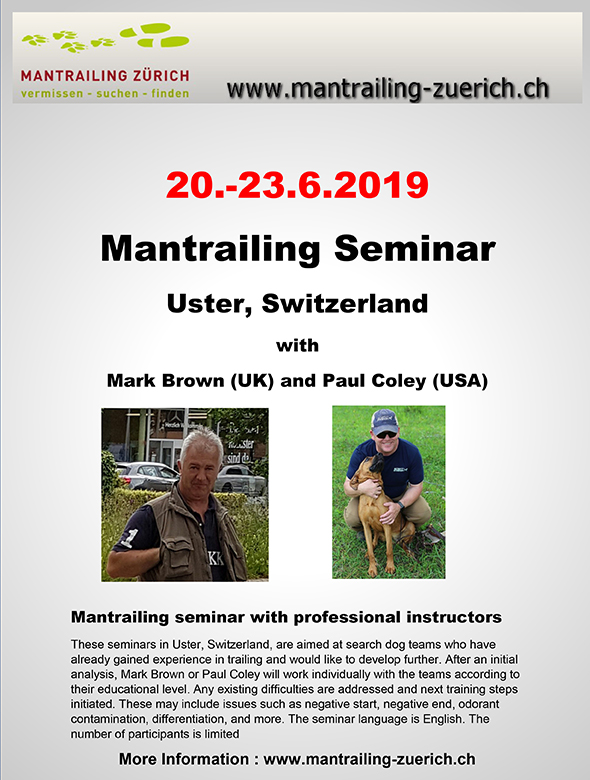 Zurich Mantrailing Seminar 2019 with Paul Coley flyer
