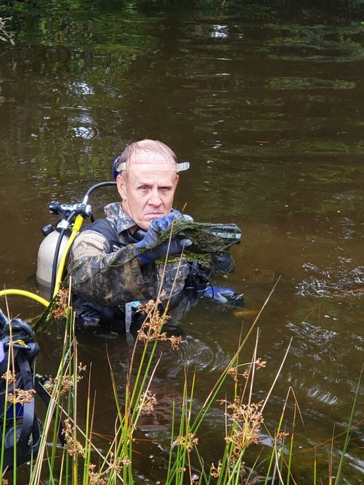 Weapon recovered by dive team from pond after K9 Charlie trail