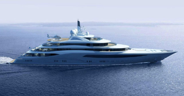 Aerial view of Infinity Superyacht