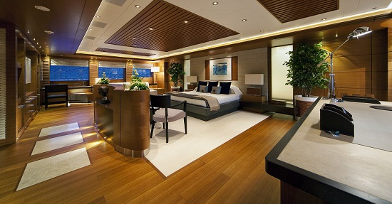 Plenty of room in the Master Stateroom of Luxury charter yacht Mary Jean II