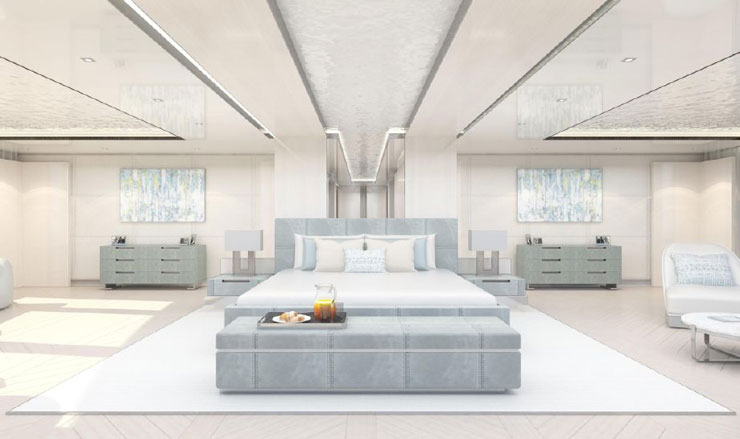 Renderring of master stateroom on Infinity Superycacht
