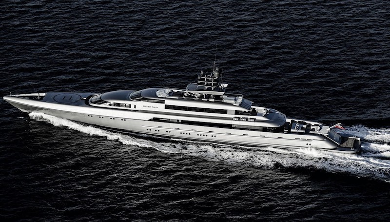 Silver Fast Super Yacht Aerial View