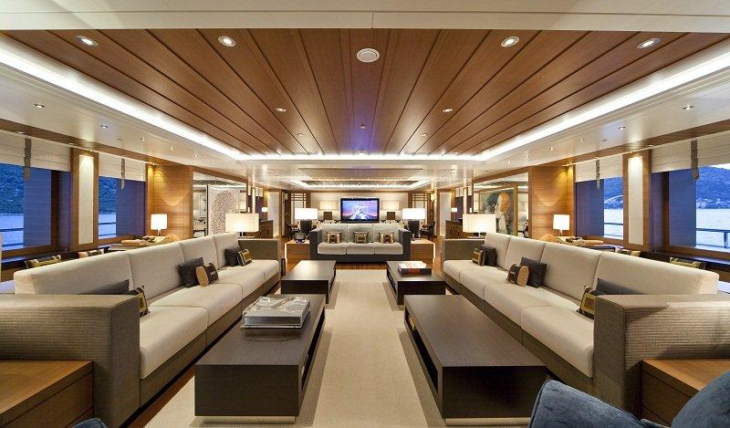 Spacious Lounge on Mary Jean II luxury Charter Yacht