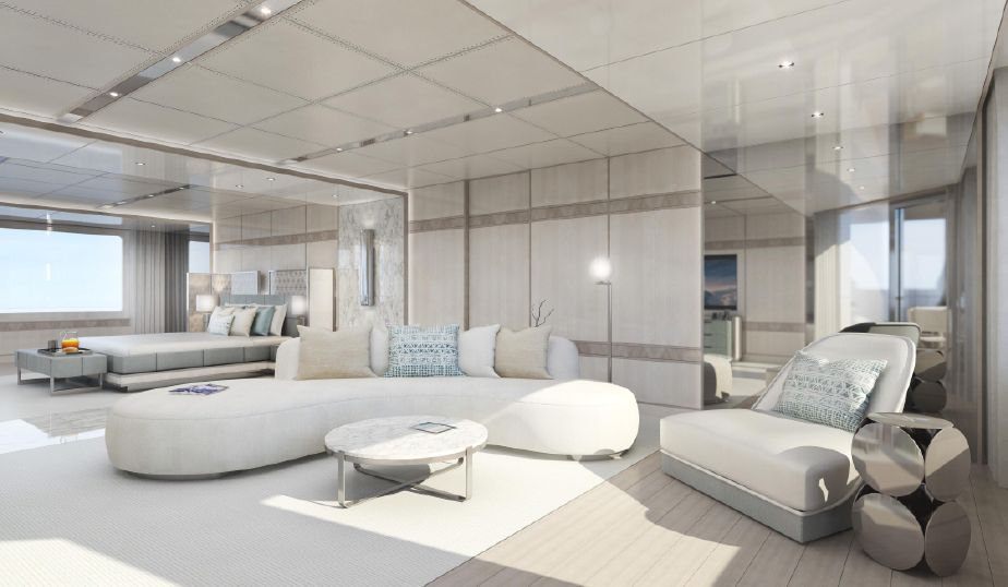 Spacious master stateroom on Infinity Superyacht