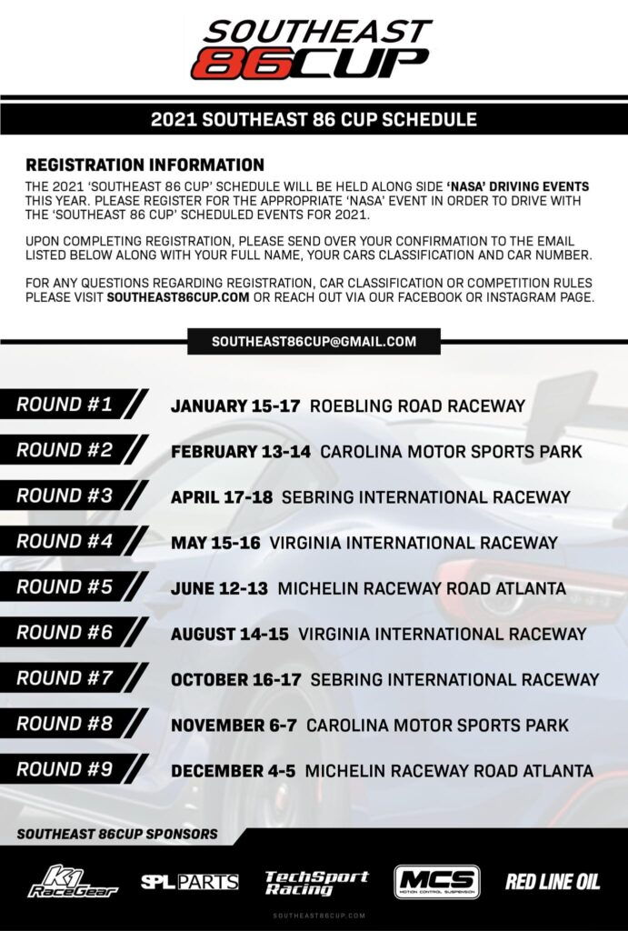 Southeast 86 Cup Schedule