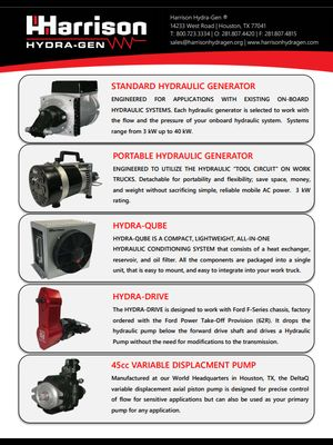 Harrison Hydraulic Generator lineup