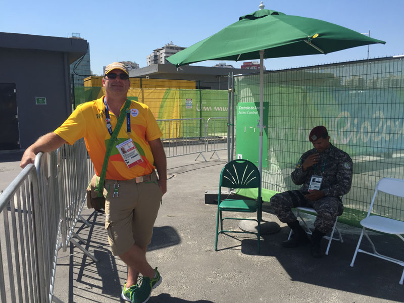 Here is Mark at one of his stations at the Tennis Venue.
