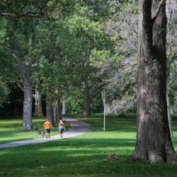 two people walking a dog in Kern Park