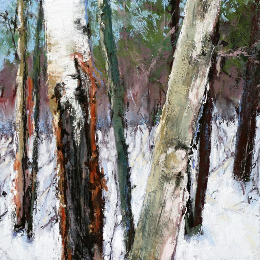 pastel painting of tree trunks