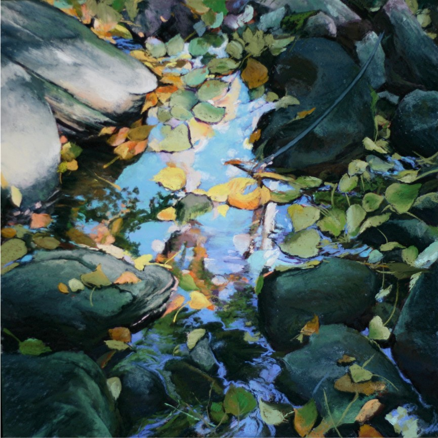 pastel painting of rocks and leaves