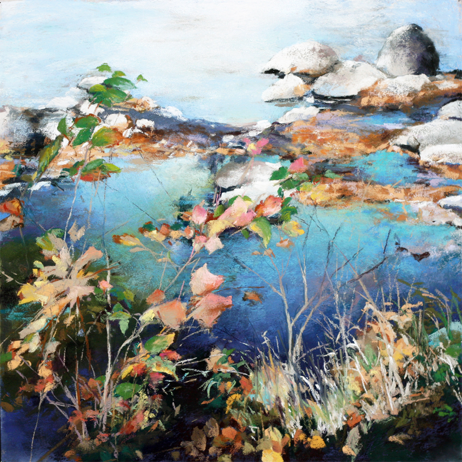pastel painting of the edge of a pond