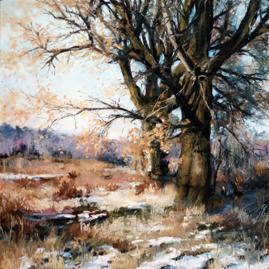 pastel painting of trees