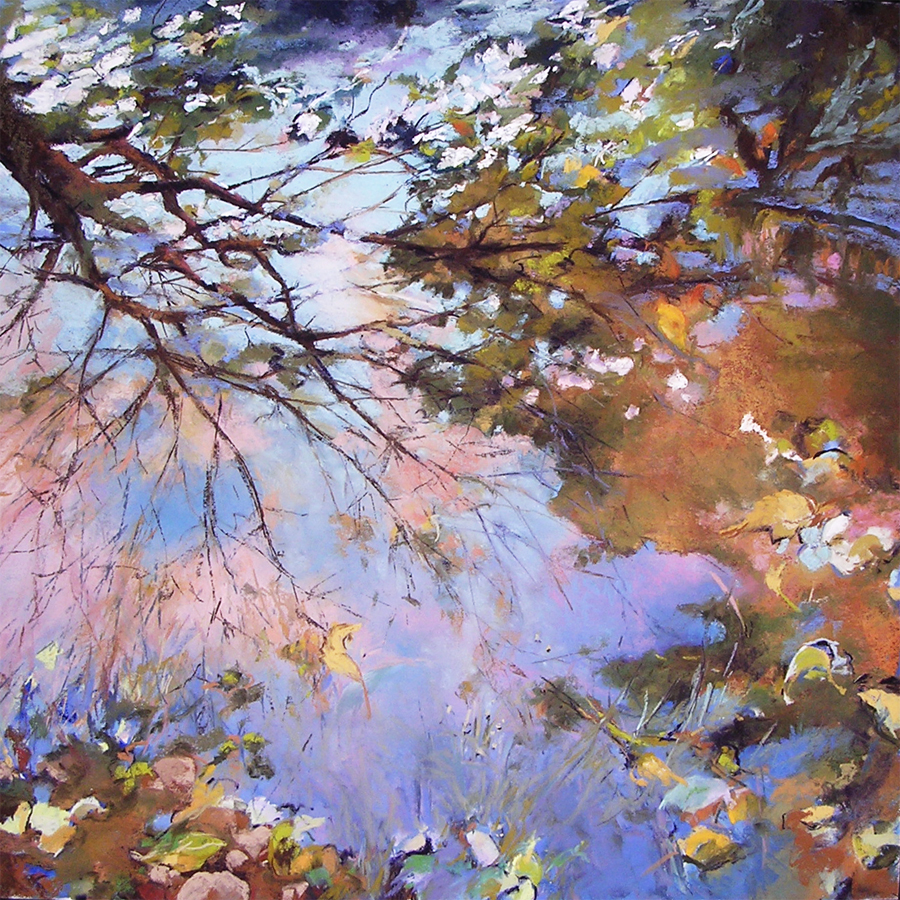pastel painting of a reflection on water of trees