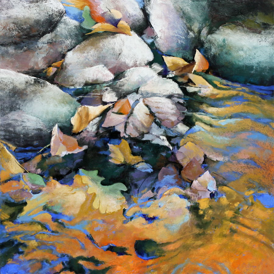 pastel painting of water's edge
