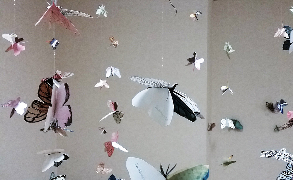 Installation view of suspended butterfly books at Alfons Gallery