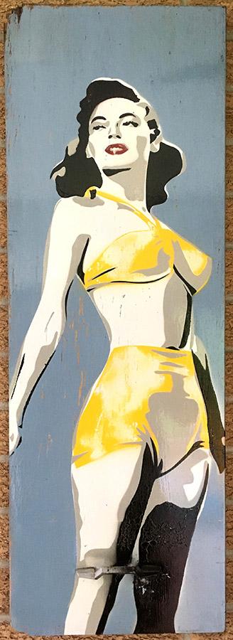 """Ava Gardner,"" spray paint on cabinet door."