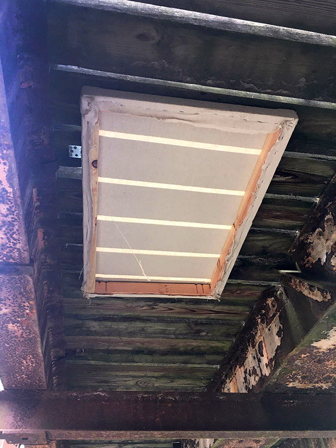 Canvas installed underneath Sauk Creek bridge.