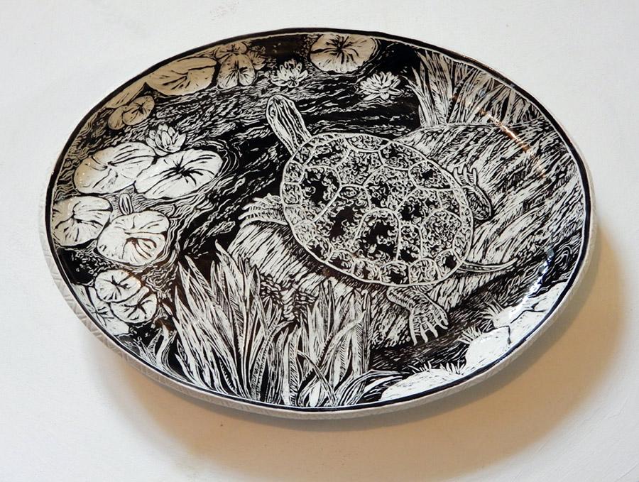 Turtle platter, ceramic