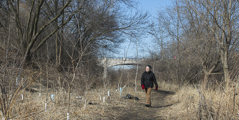 Glenda Puhek walking in the Milwaukee River Greenway