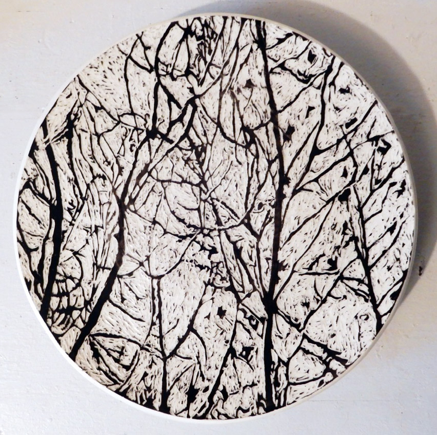 ceramic platter with pattern of trees