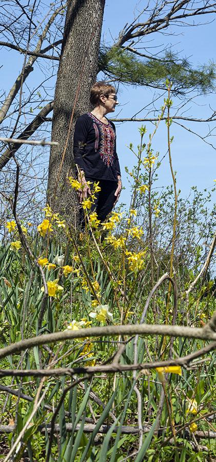 Barbara Manger standing at Lake Michigan bluff