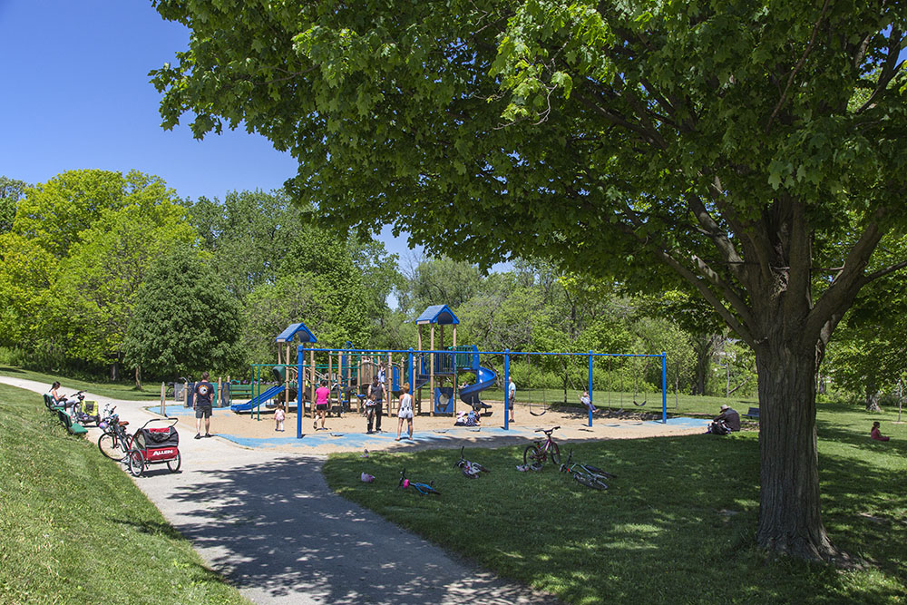 The playgrounds are open again--and busy! Hoyt Park, Wauwatosa.
