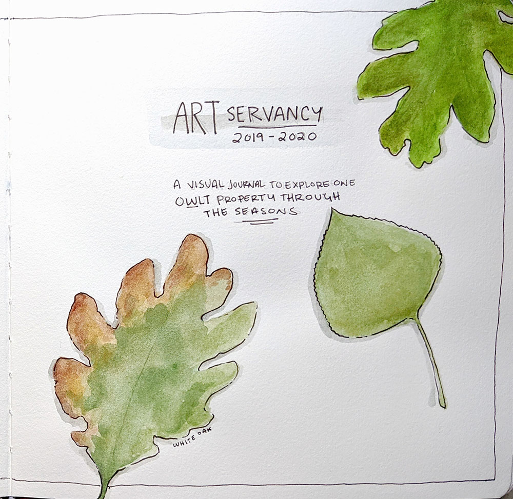 """""""ARTservancy visual journal title page,"""" watercolor and micron pen"""