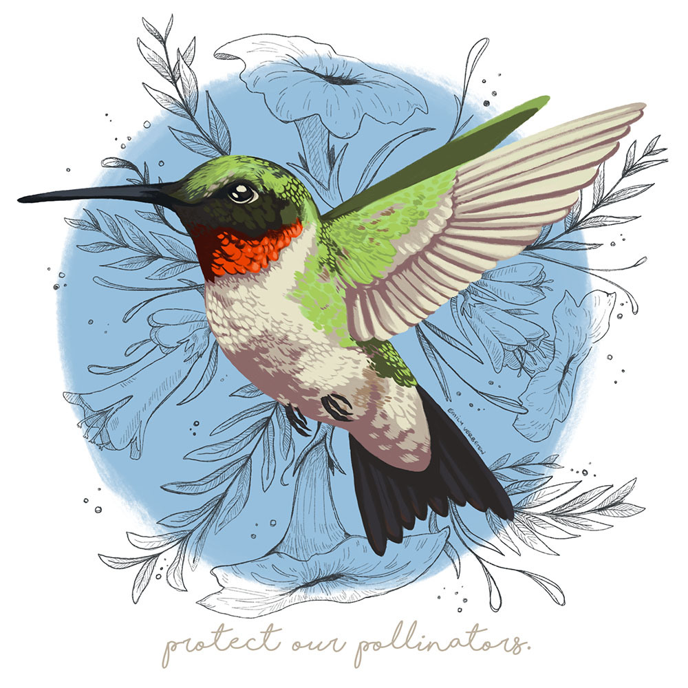 """""""Protect Our Pollinators: Earth Day,"""" digital painting"""