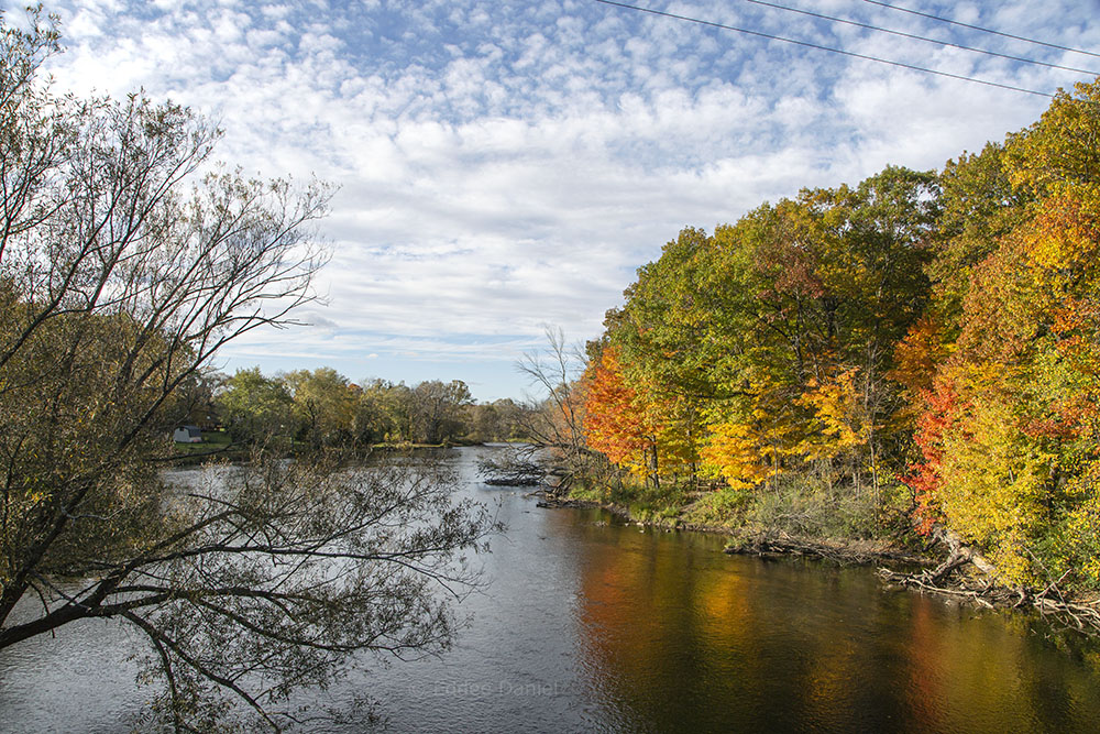 Milwaukee River and Entrance to Bratt Woods State Natural Area from the Interurban Trail Bridge.