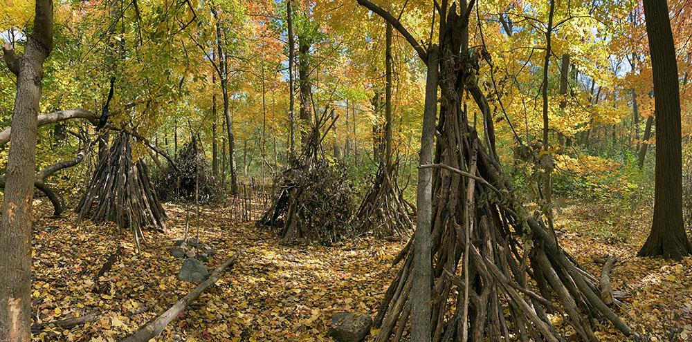A woodland stick fort village, KK River Parkway