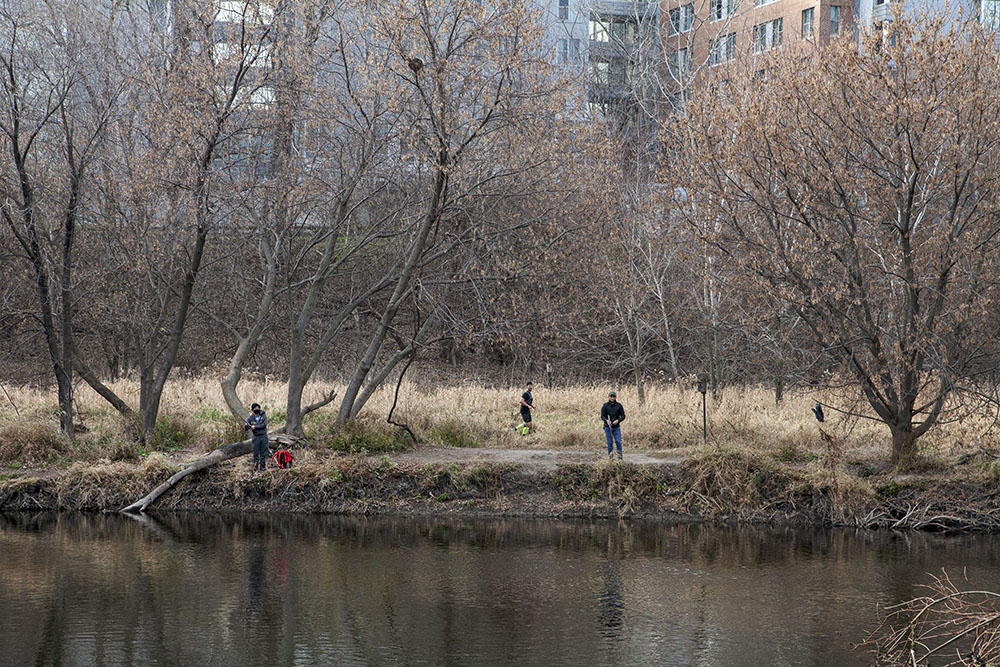 Fishing and jogging on the West Bank near North Avenue