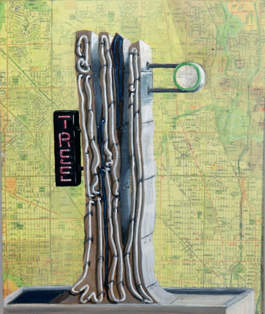 Tree, oil painting/collage by Krista Allenstein