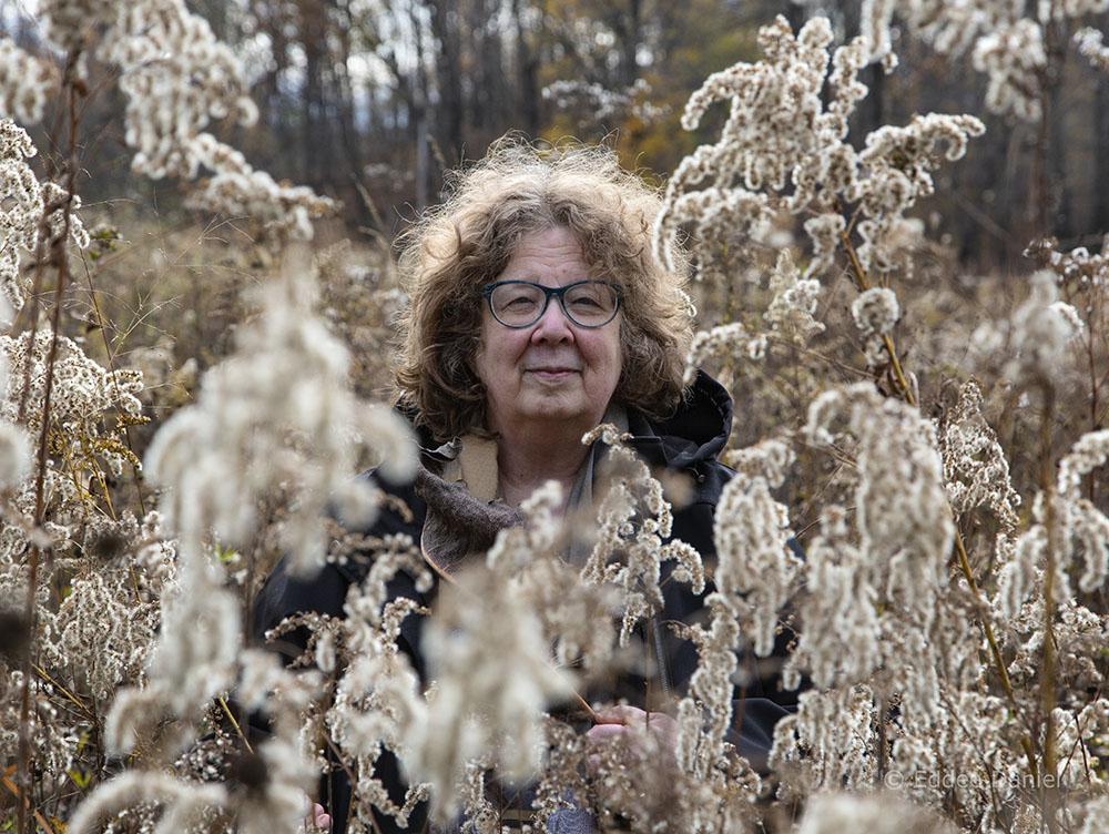 Leslie Fedorchuk amongst goldenrod gone to seed