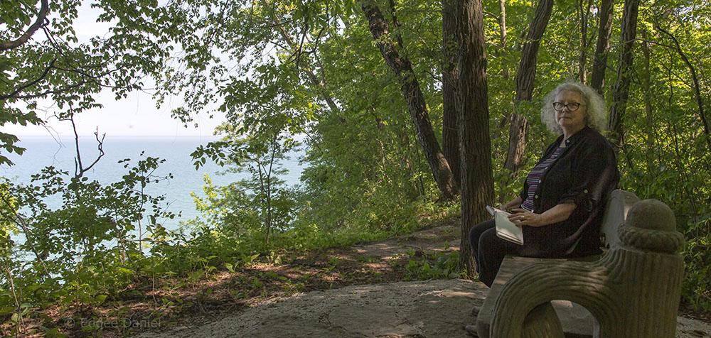 Mary Mendla overlooking Lake Michigan