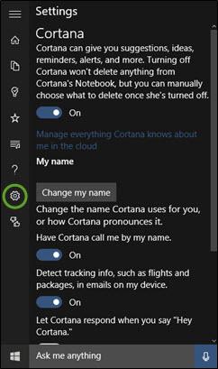 Hot PC Tips - Cortana Settings