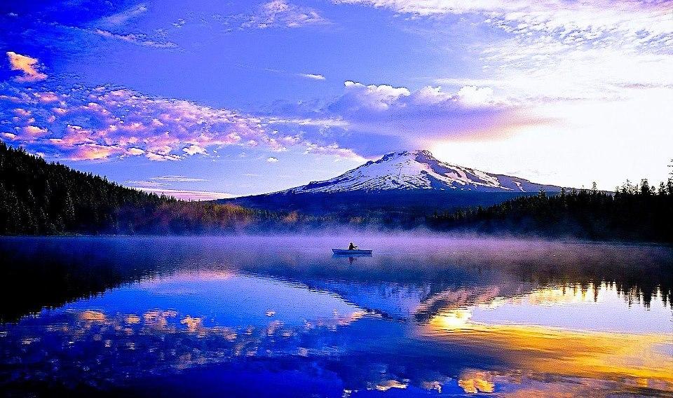 mountain lake canoe