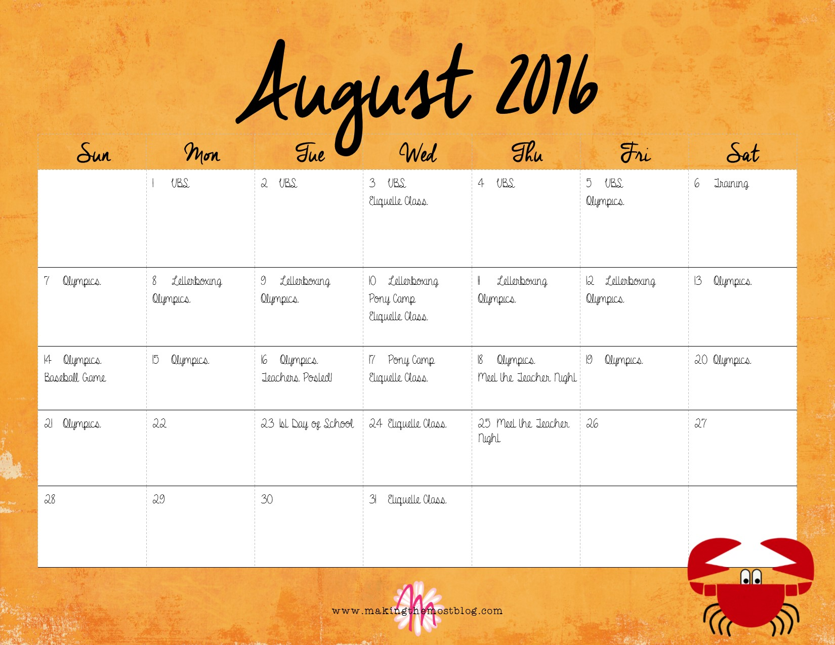 August 2016 (FREE Printable!) Super Summer Calendar | Making the Most Blog