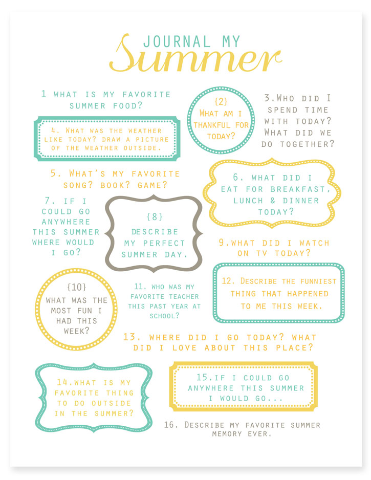 Journal My Summer Free Printable from Simple as That | Making the Most Blog