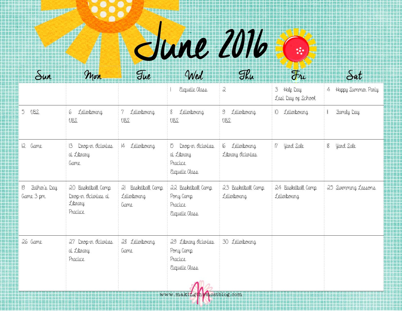 June 2016 (FREE Printable!) Super Summer Calendar | Making the Most Blog