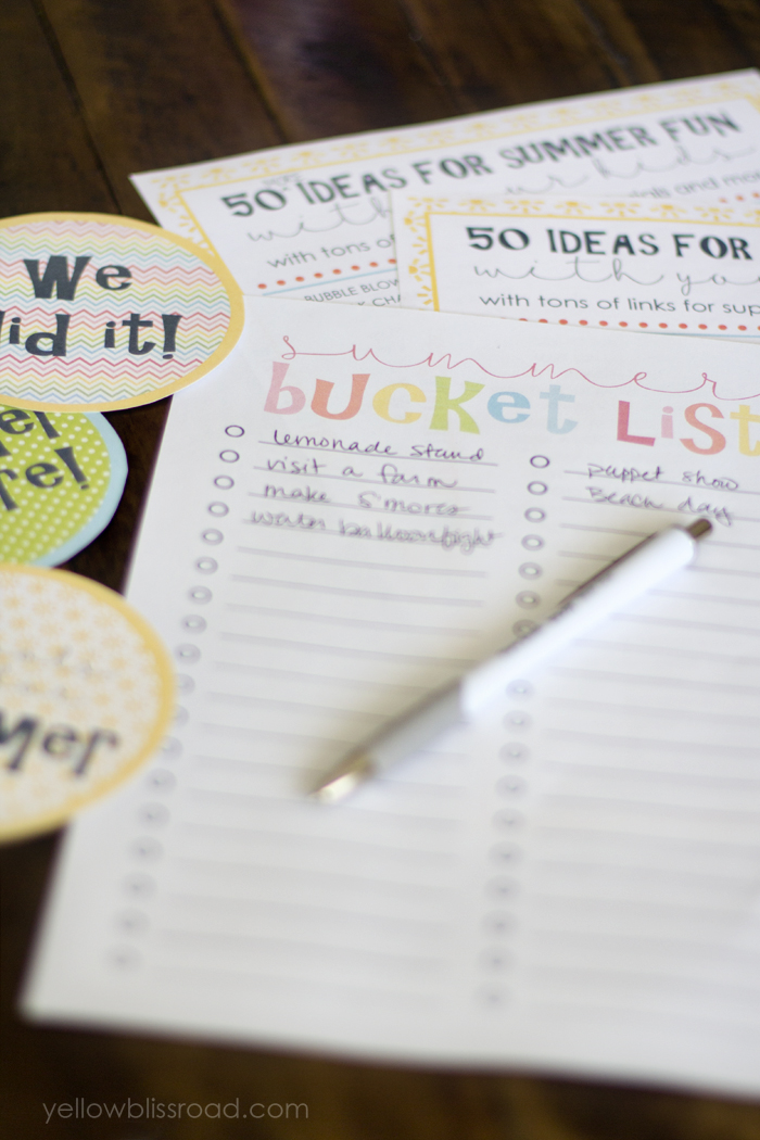Free Summer Bucket List Printable from Yellow Bliss Road | Making the Most Blog