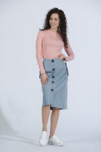 blue with button design skirt