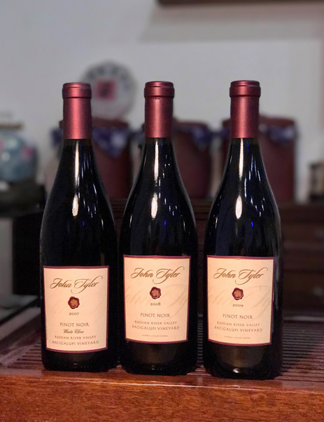 John Tyler Pinot 3 vintages, between 2005 to 2009