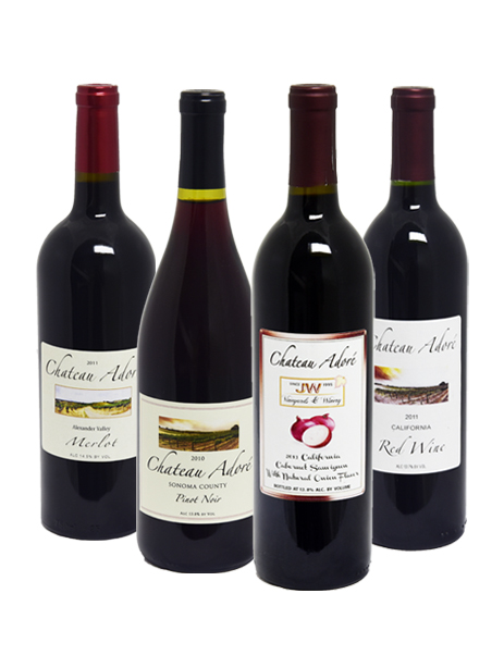 Chateau Adore Special : Merlot, Pinot Noir, Cabernet Sauvignon with natural onion flavor, California Red Wine