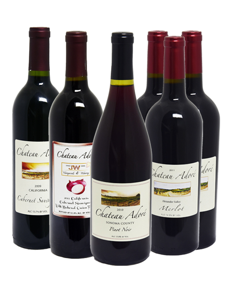 Chateau Adore Special : Cabernet Sauvignon x 1, Merlot x 3, Pinot Noir x 1, Cabernet Sauvignon with natural onion flavor x 1, GET 1 California Red Wine FREE