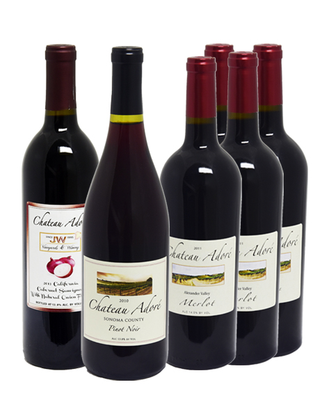 Chateau Adore Special : Merlot x 4, Pinot Noir x 1, Cabernet Sauvignon with natural onion flavor x 1, GET 1 California Red Wine FREE