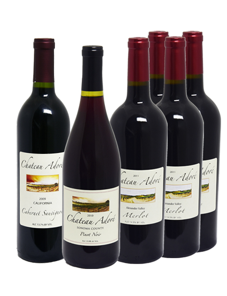 Chateau Adore Special : Cabernet Sauvignon x 1, Merlot x 4, Pinot Noir x 1, GET 1 California Red Wine FREE