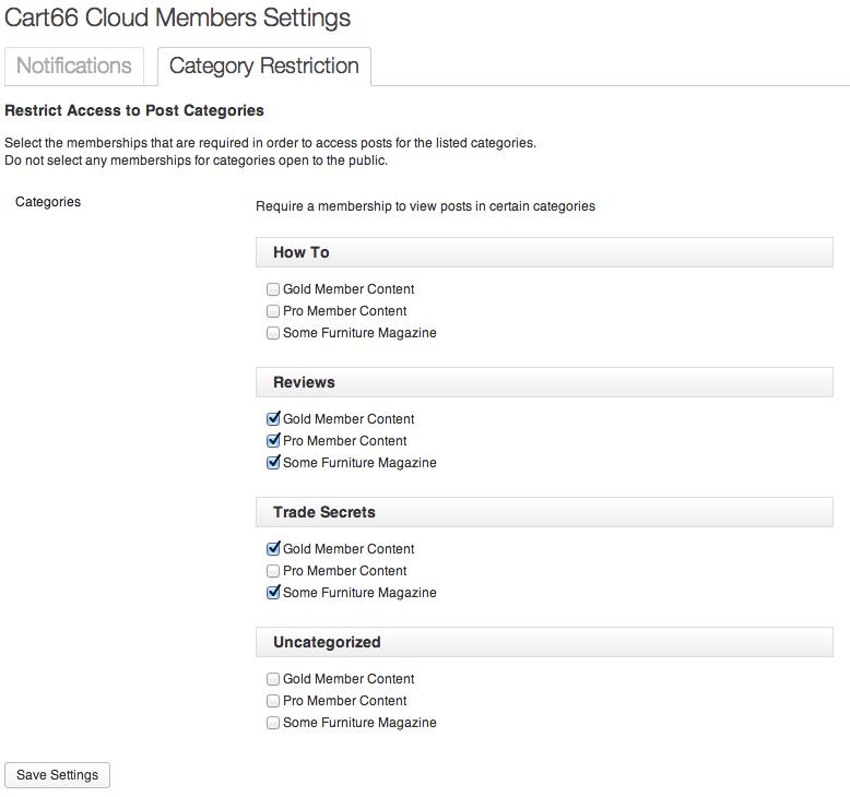 Sell with WordPress   Cart66 Membership Settings