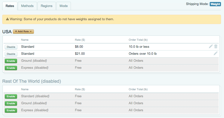 Sell with WordPress   Cart66 Shipping Rate Setup