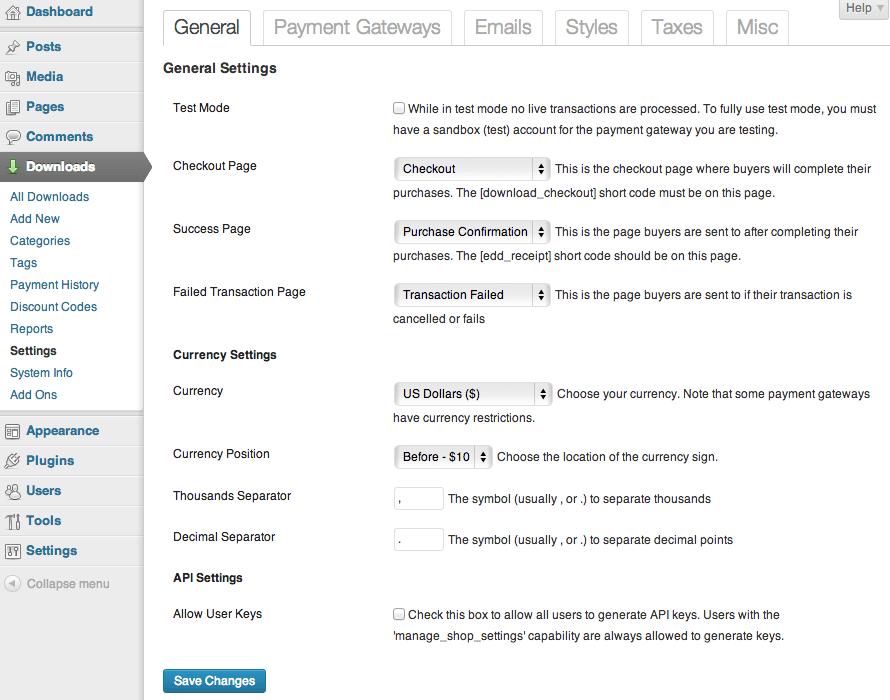 Sell with WordPress   Easy Digital Downloads Admin Settings